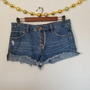 Free people  high low Destresed jean shorts